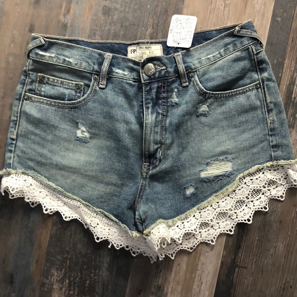 NWT Free People denim shorts with lace trim